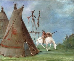 Catlin_--_Comanche_warrior_and_tipi